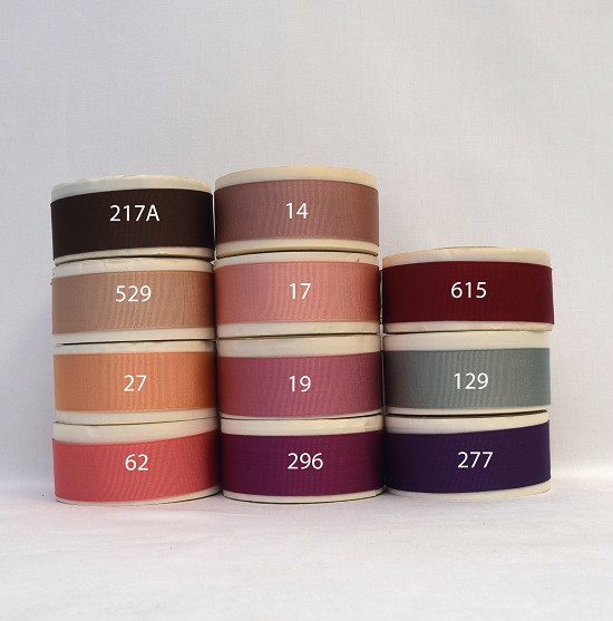 1-1/4 (25mm) Pink Brown Red Purple Acetate Finished or Woven Edge Grosgrain Ribbon