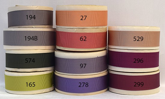 1 inch (25mm) Gray Green Pink Orange Purple  Acetate Finished or Woven Edge Grosgrain Ribbon