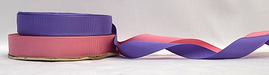1 inch (25mm) Pink Purple Cotton Rayon Finished or Woven Edge Grosgrain Ribbon