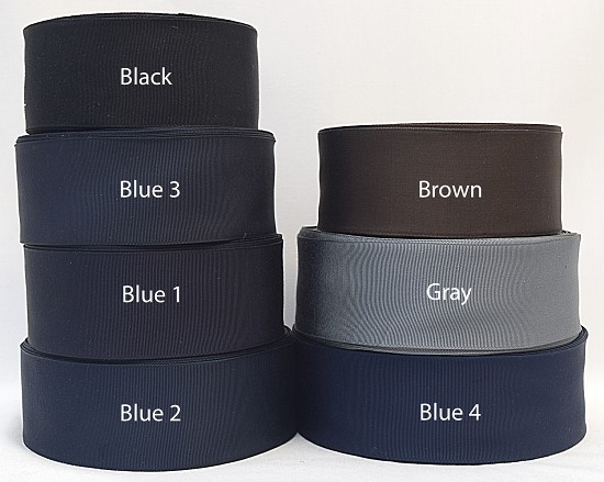 2 inch (50mm) Black Gray Blue Brown Cotton Rayon Finished or Woven Edge Grosgrain Ribbon E
