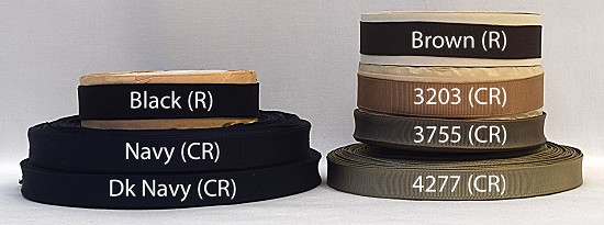 5/8 (16mm) Black Blue Brown Finished or Woven Edge Grosgrain Ribbon