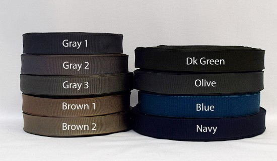 7/8 (22mm) Gray Brown Green Blue Cotton Rayon Finished or Woven Edge Grosgrain Ribbon