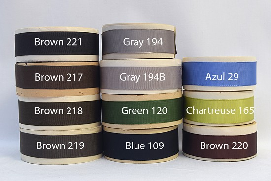 1 inch (25mm) Brown Gray Green Blue Rayon Finished or Woven Edge Grosgrain Ribbon A