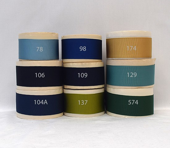 1-1/2 (38mm) Blue Green Yellow Rayon Finished or Woven Edge Grosgrain Ribbon C