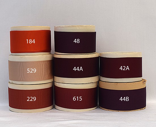 1-1/2 (38mm) Brown Orange Rayon Finished or Woven Edge Grosgrain Ribbon B