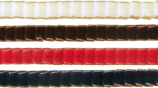 "3/8"" (10mm) Plisse Pleated Velvet & Metallic Edge Ribbon"
