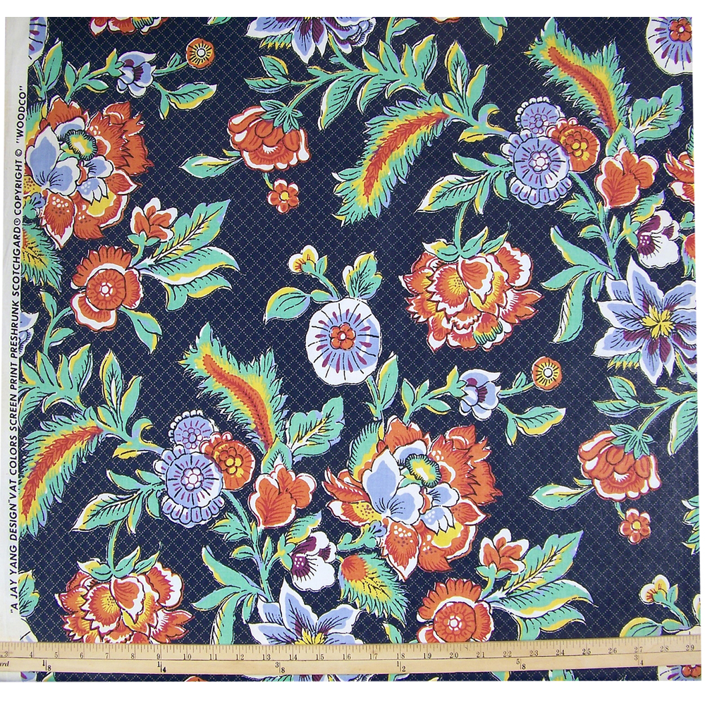 Vintage Jay Yang Floral Cotton Chintz Fabric