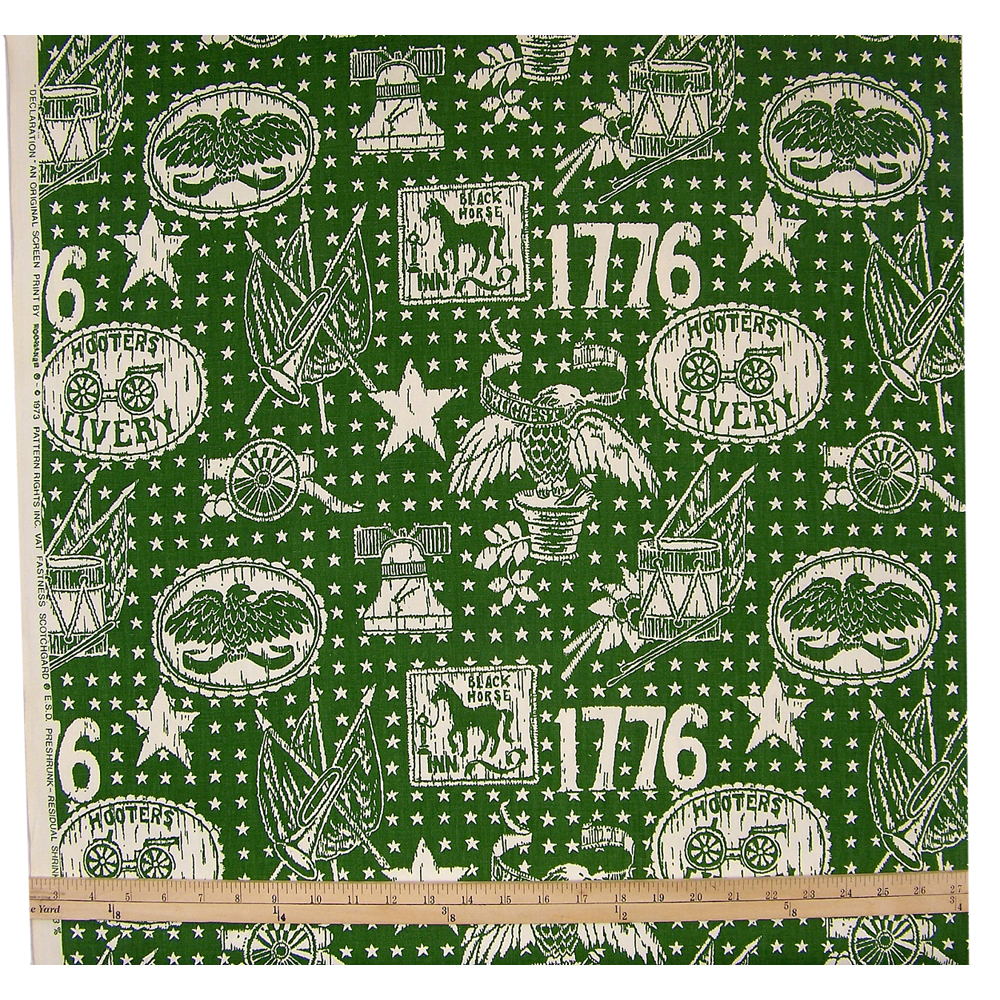 Vintage Riverdale Green Declaration Cotton Fabric