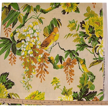 Vintage Riverdale Bird Print Fabric 1