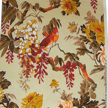 Vintage Riverdale Bird Print Fabric 2