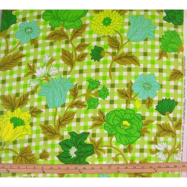 Vintage Flower and Checker Fabric