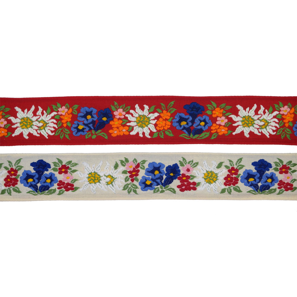 1-7/8 (48mm) Floral Edelweiss Jacquard Ribbon 3979