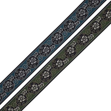 1-1/8 (29mm) French Floral Lame Jacquard Ribbon 4710