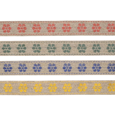 3/4 (19mm) Linen Floral Jacquard Ribbon 3146