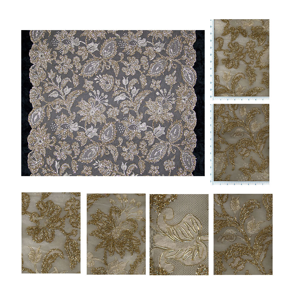 French Gold Tinsel & Cordonnet Chantilly Beige Lace