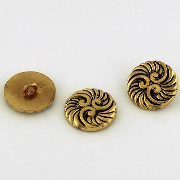 36L (23mm) Round Swirl Gold Metal Button