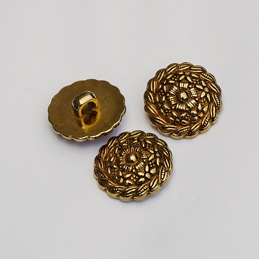 36L (23mm) Circular Floral Gold Metal Button