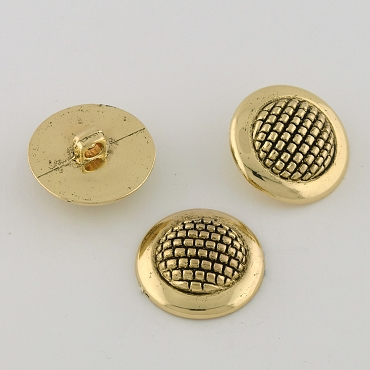 40L (25mm) Round Lattice Dome Gold Metal Button