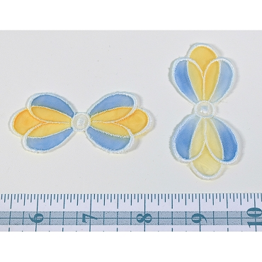 Vintage Swiss Yellow & Blue Bow Applique (2)