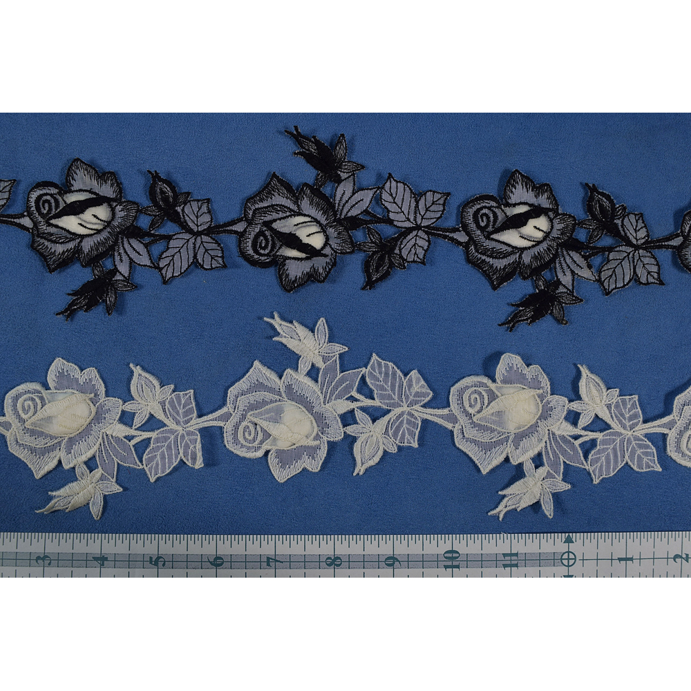 Vintage Swiss Padded Petal Rose Applique (3)
