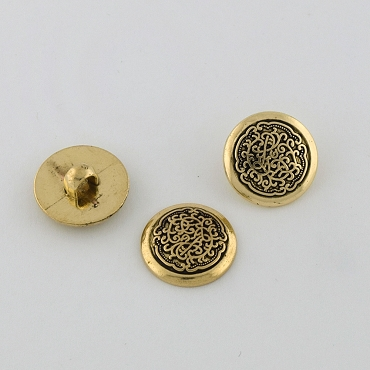 24L (16mm) Black & Gold Metal Button