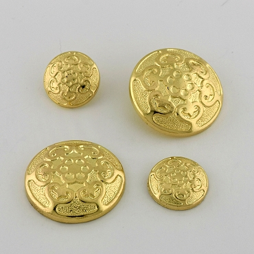 28L & 45L Floral Gold Novelty Metal Button