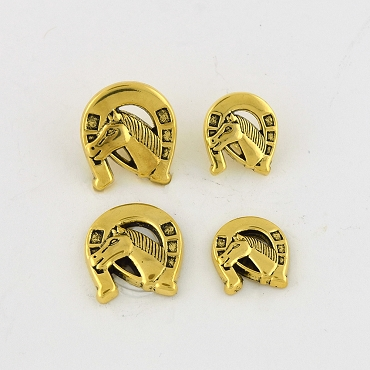 28L & 36L Horse Novelty Black & Gold Metal Button
