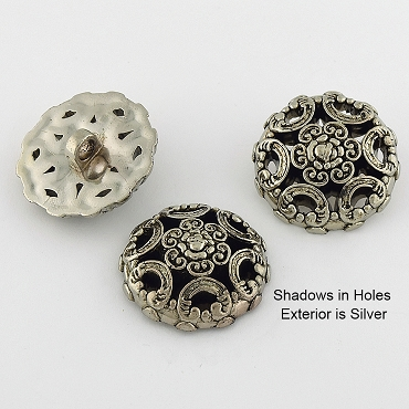 50L (32mm) Circle Dome Silver Metal Button