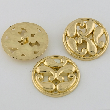 60L (38mm) Black & Gold Metal Button