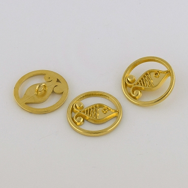 40L (25mm) Novelty Gold Metal Button