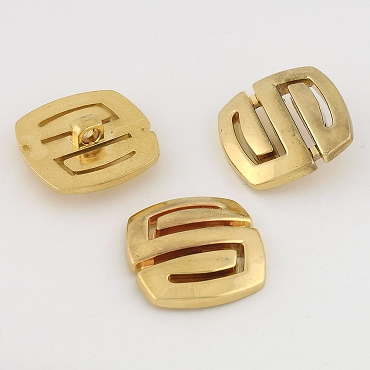 50L (32mm) Square Novelty Gold Metal Button
