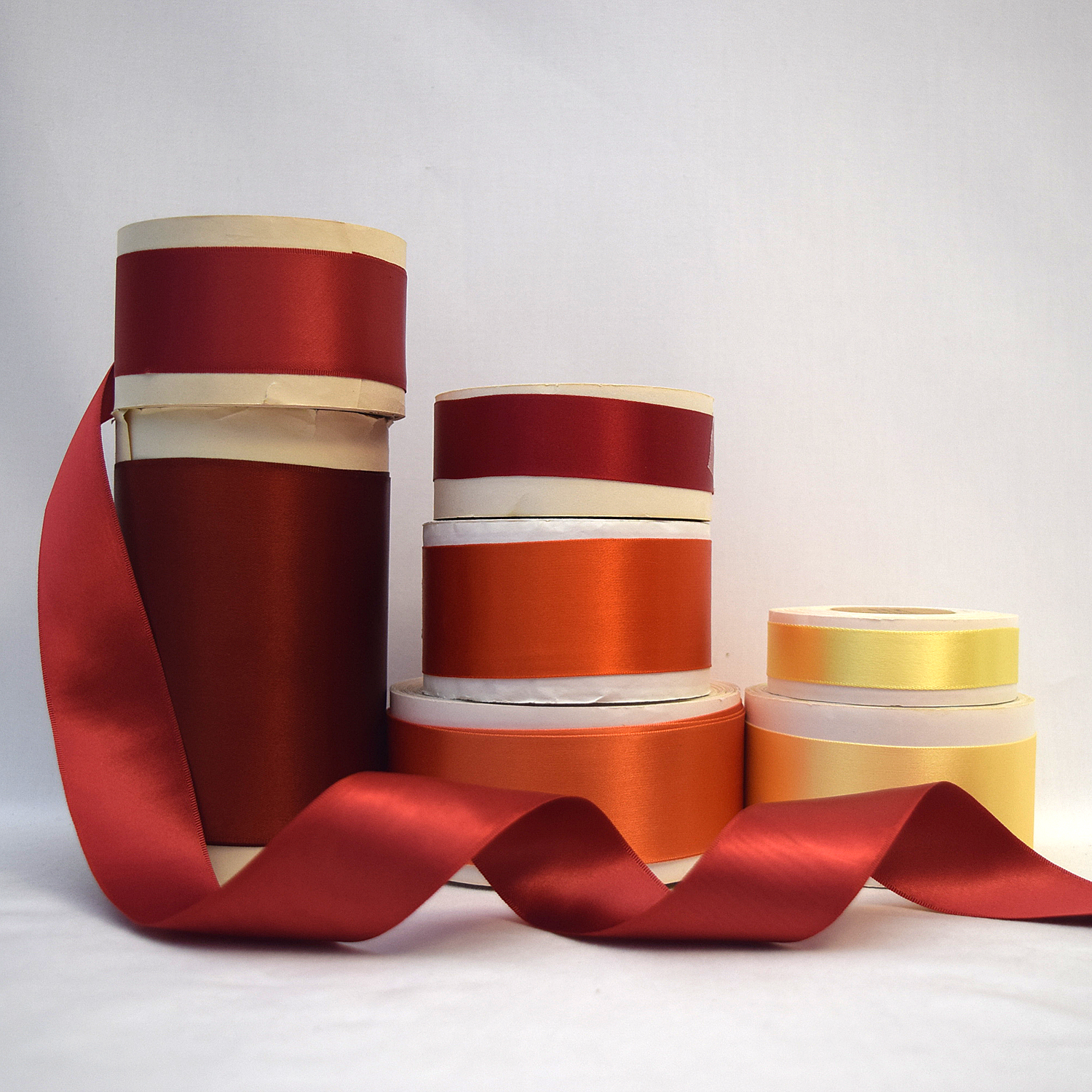 Rayon Double Faced Satin Ribbon (Red Yellow)