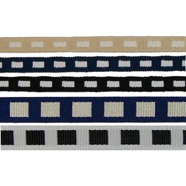 """BTY 2/"""" 50mm Black /& Beige Stripe Grosgrain Ribbon 1001"""