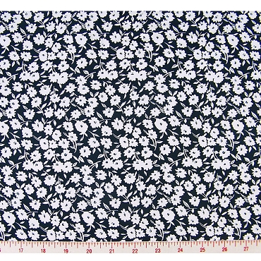 White Flowers Polyester Fabric 282