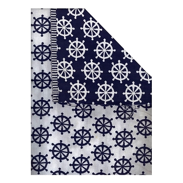 Reversible Blue & White Nautical Cotton Fabric