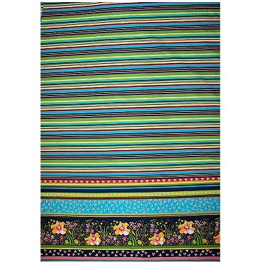 Stripes and Floral Border Cotton Fabric