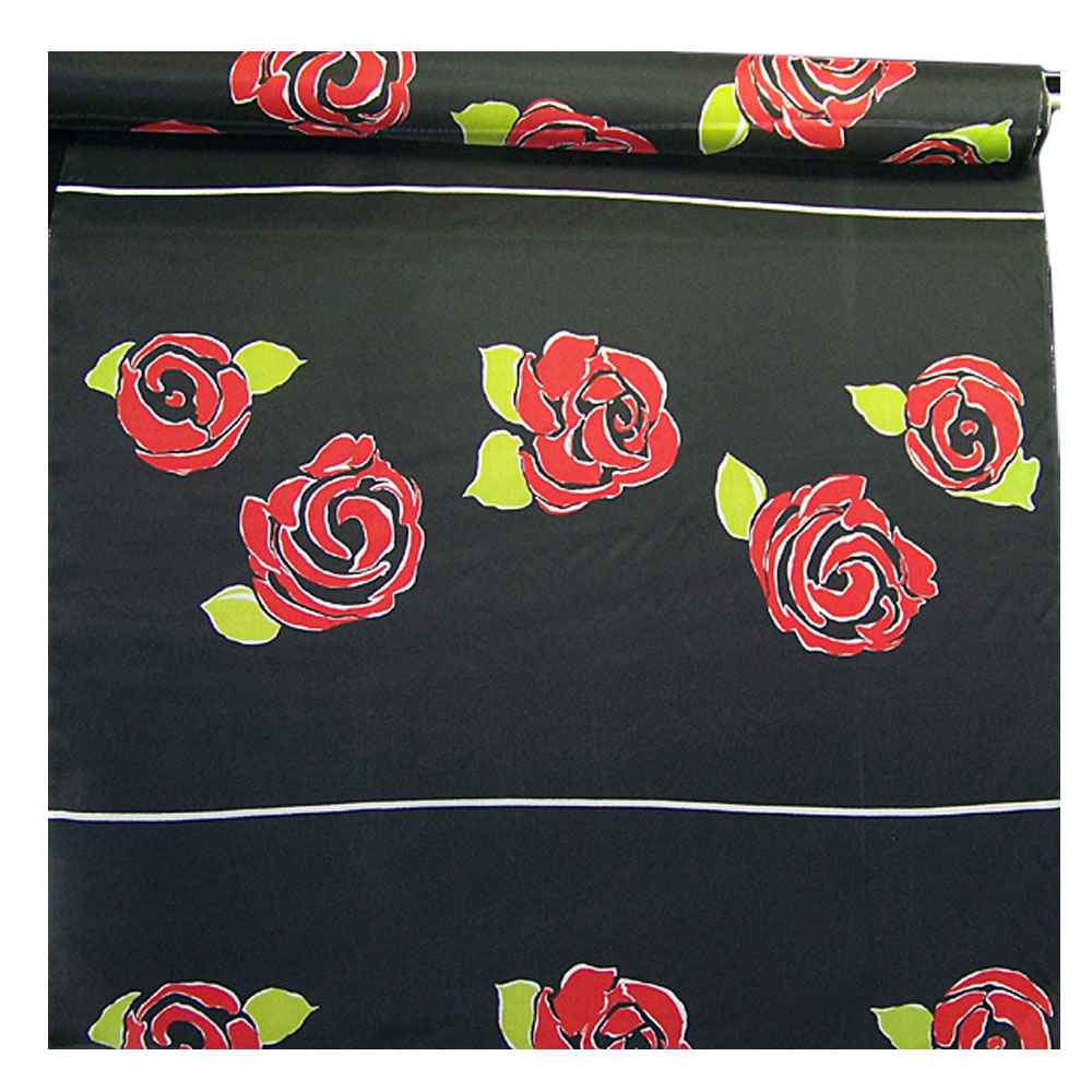 1 Panel Red Roses on Silk Organza Fabric