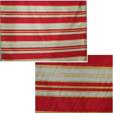 French Red Stripe Silk Shantung Fabric