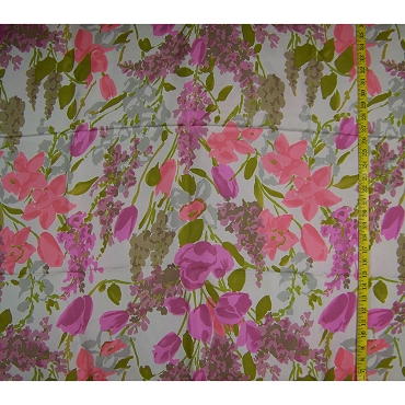 Spring Flowers Silk Crepe de Chine Fabric