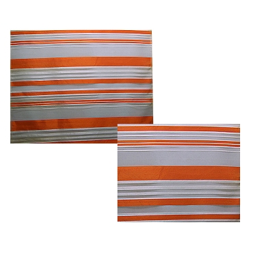 French Orange & White Stripe Silk Organza Fabric