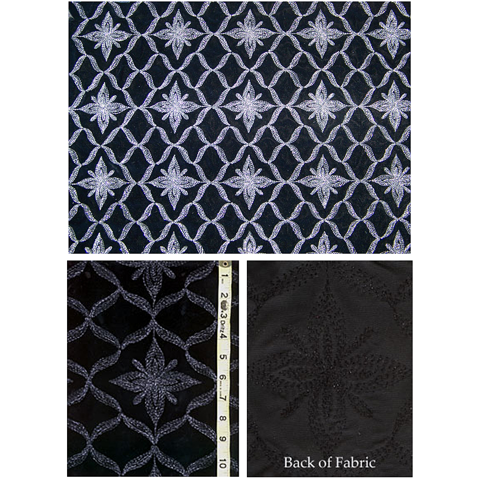 Black French Velvet Fabric with Metallic Threads