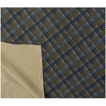 Havre Bernard Blue Brown Square Wool Blend Fabric