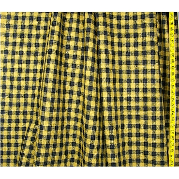 Gold Black Plaid Wool Blend Fabric