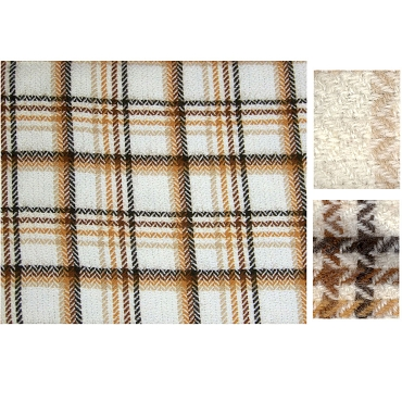 Soft Neutral Tone Plaid Wool Fabric