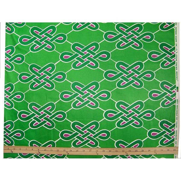 Vintage Julian Tomchin Original Green Knots Fabric
