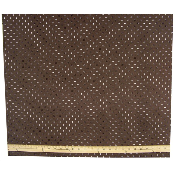 Vintage Dots on Dark Brown Cotton Fabric