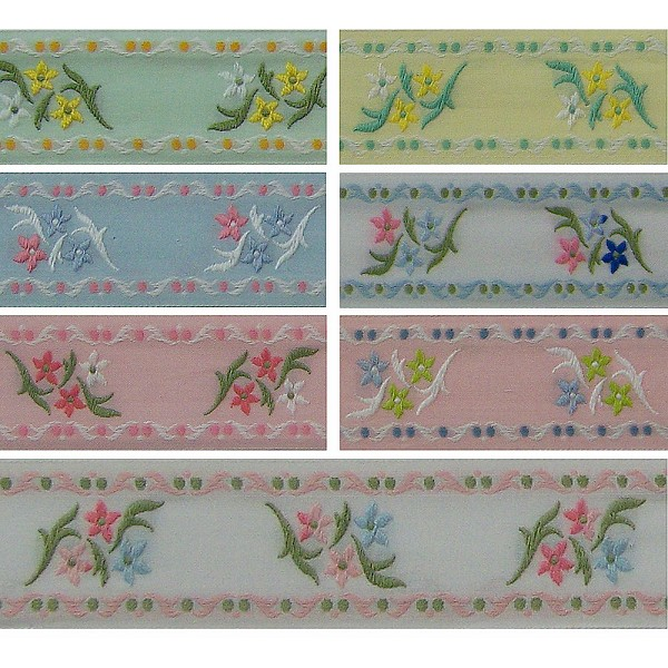 1-1/2 (38mm) French Floral Jacquard Ribbon 3586