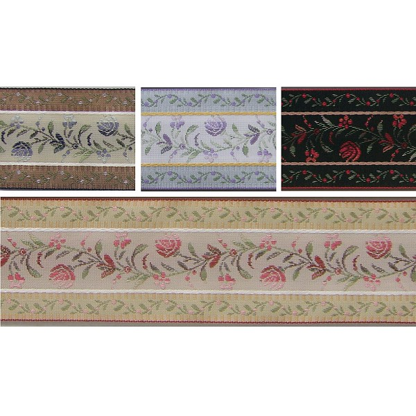 2 (50mm) French Floral Jacquard Ribbon 3904
