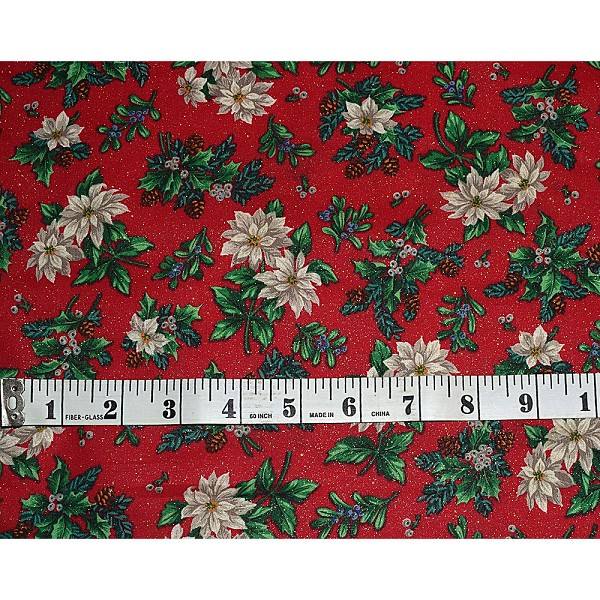 Cranston Christmas Poinsettia with Gold Specks Fabric
