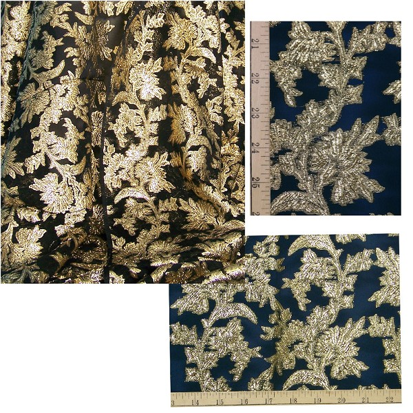 French Floral Lame Fabric